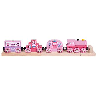 Bigjigs Rail Wooden Princess Train Locomotive Engine Carriages Compatible Pink