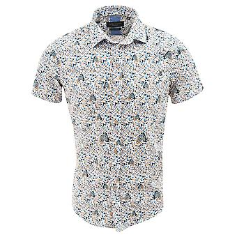 Gids Londen Navy katoen Retro Zebra patroon Mens korte mouw Shirt