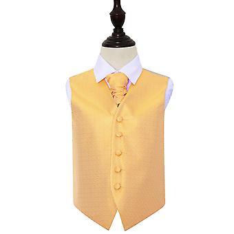 Marigold greske viktige bryllup vest & Cravat sett for gutter