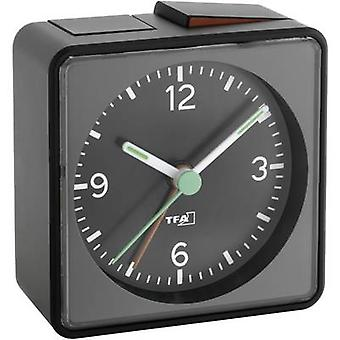 TFA Dostmann 60.1013.01 Quartz wekker zwart alarmtijden 1 fluorescerende handen