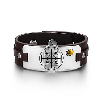 Formue rikdom og suksess magiske sirkelen Amulet Tiger øye Gemstone justerbar brunt skinn armbånd