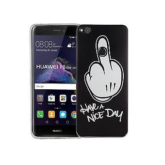 Mobile Shell for Huawei P8 Lite 2017 dækning case beskyttende taske motiv slim TPU + tank beskyttelse glas 9 H finger