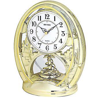 Tabellen klokke kvarts watch gull tone rytme med roterende pendel skrivebord klokke 25 x 21 cm