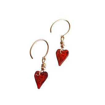 Kristall Herz Ohrringe rot SURI Ohrringe mit Kristall Elementen vergoldet
