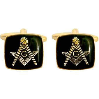 David Van Hagen Masonic emalje Square mansjettknapper - svart