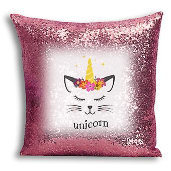 i-Tronixs - Unicorn Printed Design Rose Gold Sequin Cushion / Pillow Cover with Inserted Pillow for Home Decor - 2