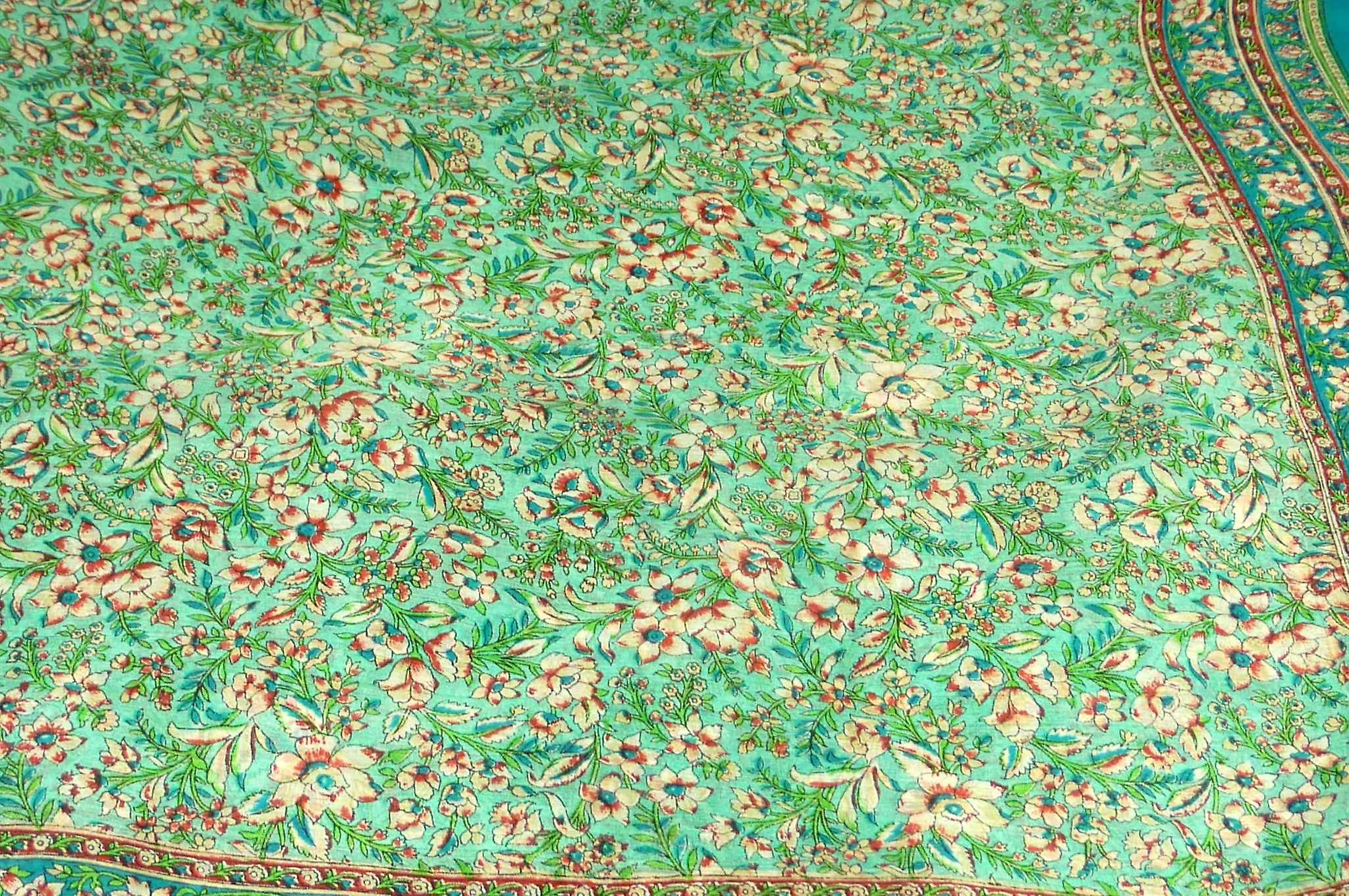 Mulberry Silk Traditional Square Scarf Eyer Aquamarine by Pashmina & Silk