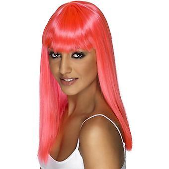 Long Neon Pink Straight Wig, Glamourama Wig, Fancy Dress Accessory