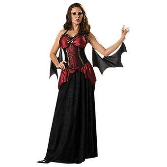 Womens Vampire Witch Bat Horror Halloween Fancy Dress Costume
