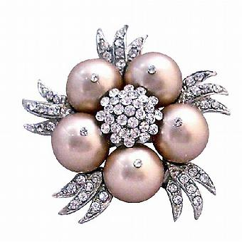 Champagne Pearls Brooch Matching Wedding Dress Champagne Swarovski Pearls Brooch