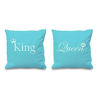 "King And Queen Crown Aqua Cushion Covers 16"" x 16"""