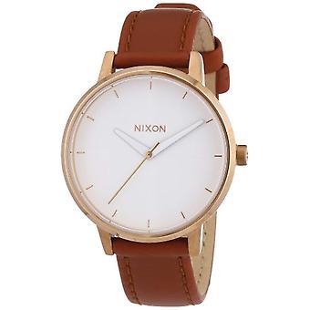 Nixon A1081045-00 wrist watch, analog Display, female, Brown leather strap,
