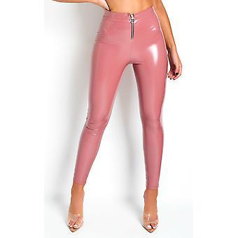 IKRUSH Womens Khali High Shine PU Trousers