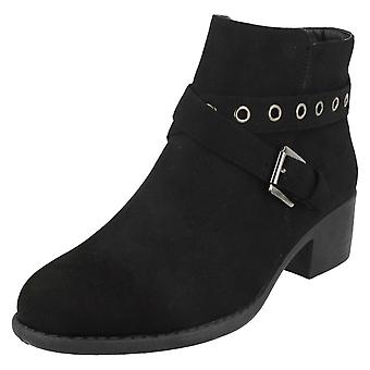 Ladies Spot On Ankle Boots With Buckle Detail