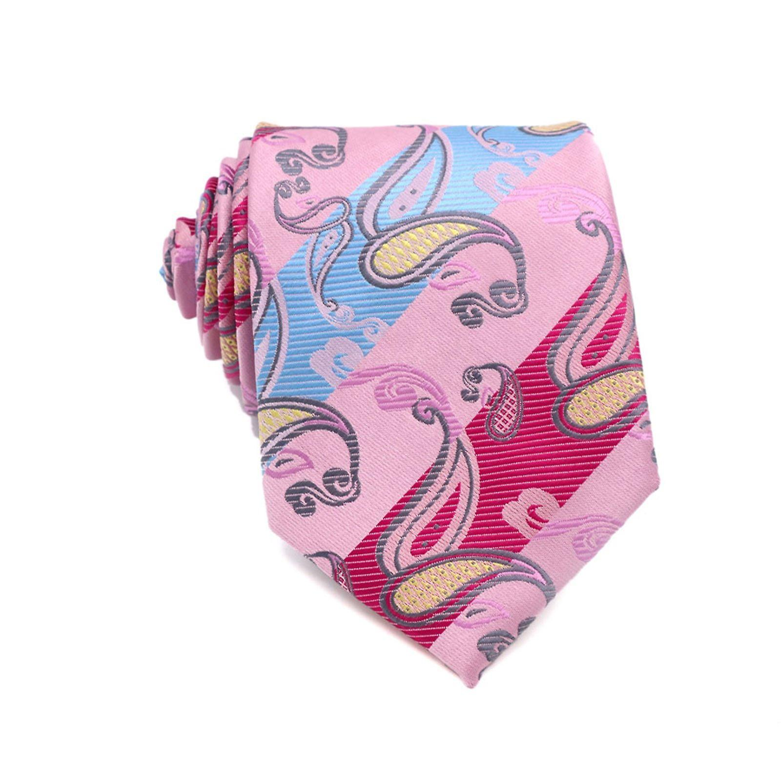 Bright pink oat & baby blue paisley pocket square & tie