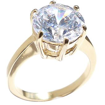 Ah! Jewellery Stainless Steel Solitaire Simulated Diamond Ring