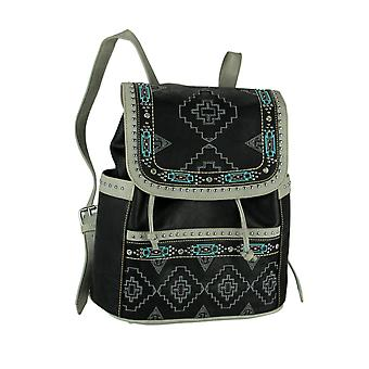 Montana West Aztec Collection Tribal Embroidered Trim Backpack