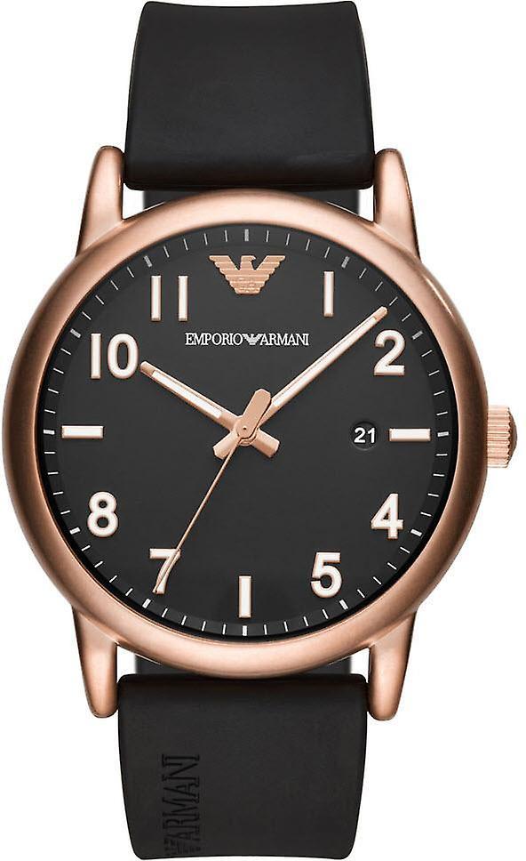 Emporio Armani Ar11097 Matte Black Rubber Strap Men's Watch