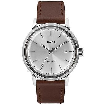 Timex automatische braun Leder Armband Silber Zifferblatt TW2T22700 Herrenuhr