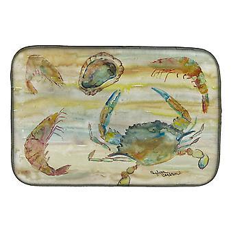 Carolines Treasures  SC2026DDM Crab, Shrimp, Oyster Yellow Sky Dish Drying Mat
