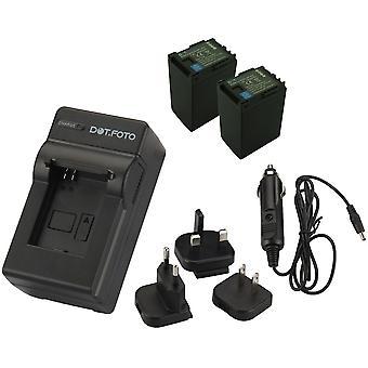 Dot.Foto BP-827 2800mAh Batterie (x2) et Chargeur de voyage de batterie pour Canon - 100-240v Mains - adaptateur 12v dans la voiture [Voir description pour la compatibilité]