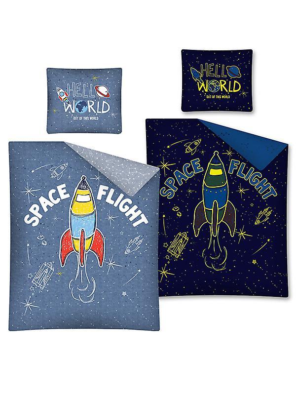 Space Flight Glow in the Dark Single Cotton Duvet Cover Set