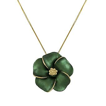 Eternal Collection Pansy Evergreen Enamel Flower Gold Tone Pendant Necklace
