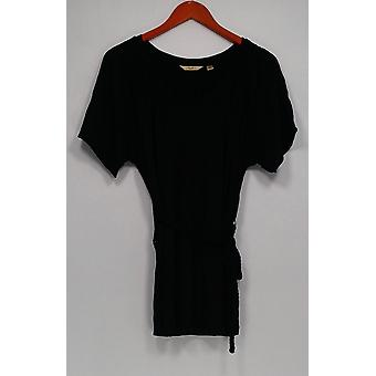 Motto Women's Top V-Neck Smocked Tee w/ Braided Belt Black A198416