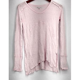 Grayson/Threads Long Sleeve Textured Knit Sleep Shirt Pink Womens