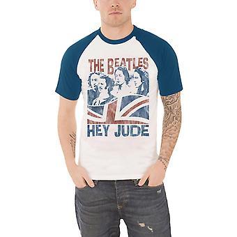 البيتلز تي شيرت يا جود Windswept الرسمية الرجال الأبيض Raglan قميص البيسبول