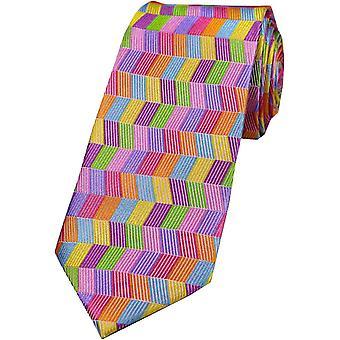 David Van Hagen Zig Zag seta Tie - multi-colore