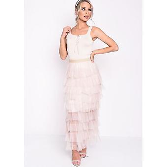 High Waisted Layered Tulle Ruffle Skirt Beige
