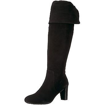 الهباء الجوي النساء اللافندر الجلود مغلقة تو الركبة أحذية الأزياء عالية