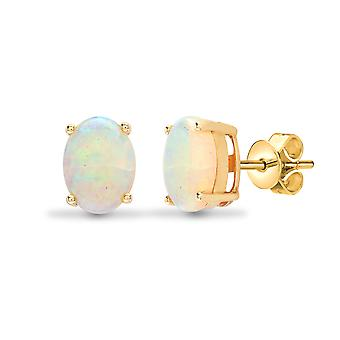 Jewelco London Ladies Solid 18ct Yellow Gold 4 Claw Set Oval Opal Solitaire Stud Earrings