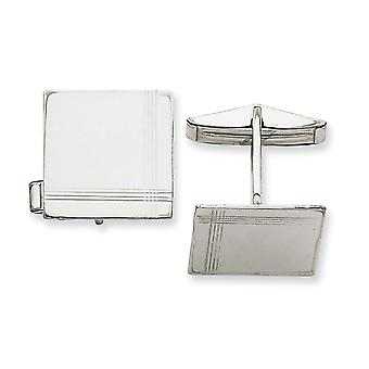 14k White Gold Solid Polished Engravable Square With Line Design Cuff Links Jewelry Gifts for Men