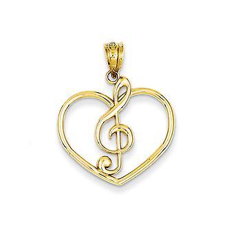 14k Geel goud gepolijst Treble Clef In Love Heart Charm Hanger Hanger Sieraden Geschenken voor vrouwen