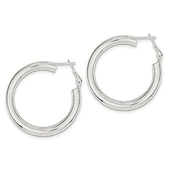 925 Sterling Silver Hollow Polished Omega Back Hoop Boucles d'oreilles - 11,3 Grammes
