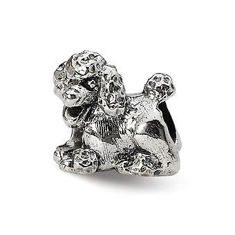 925 Sterling Silber poliert Finish Reflexionen Pudel Perle Anhänger Anhänger Halskette Schmuck Geschenke für Frauen