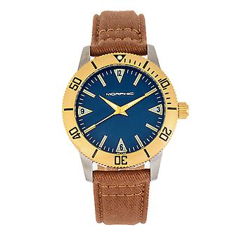 MORPHIC M85 serie canvas-overlaid leder-Band Watch-goud/bruin