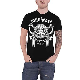 The Wildhearts T Shirt For Life Skull Band Logo new Official Mens Black