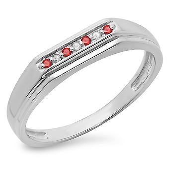 Dazzlingrock Collection Sterling Silver Round Cut Ruby & White Diamond Men's 7 Stone Stackable Wedding Band