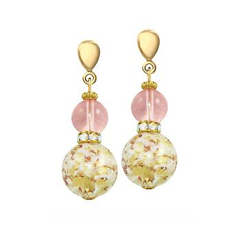 Eternal Collection Caravella Rose And Gold Venetian Murano Drop Screw Back Clip On Earrings