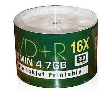 Aone DVD + R 16 X hvid fuld ansigt Inkjet Printable tomme diske - 50 spindel dvd'er