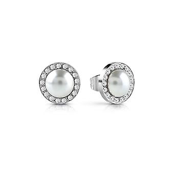 Guess Jewellery Guess Rhodium Plated Pearl Swarovski Pave Crystal Earrings UBE28081