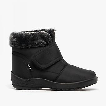 Shuperb Madeline Ladies Touch Fasten Ankle Boots Black
