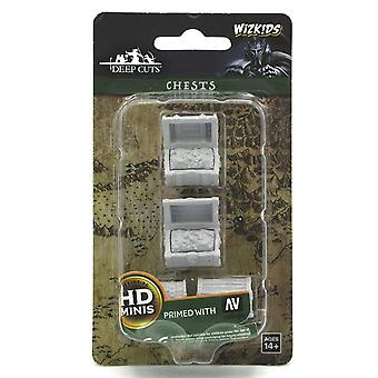 WizKids Deep Cuts Unpainted Miniatures Chests (Pack of 6)