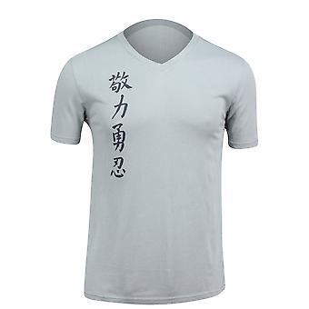 Jaco Mens Kanji 2 V-Neck T-Shirt -Silverlake Gray/Navy