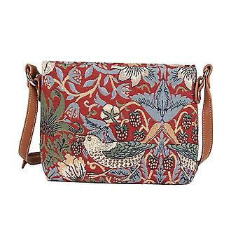William Morris-Strawberry Thief Rode Kruis Body Bag door signare tapijt/xb02-strd