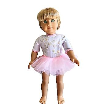 "18"" Doll Clothing White Flower Print Dance Leotard With Pink Skirt"