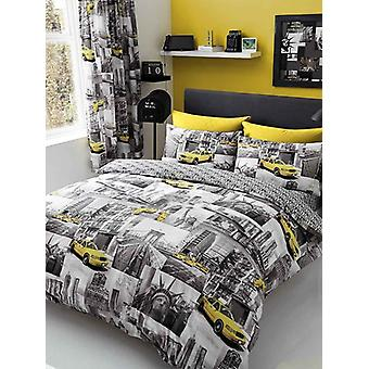New York Patch Duvet Cover and Pillowcase Set